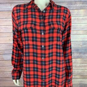 Equipment Slim Signature Plaid Silk Red Shirt Top